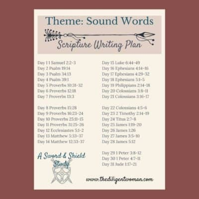Scripture Writing Plan – Theme: Sound Words