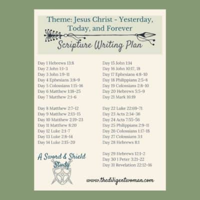 Scripture Writing Plan – Theme: Jesus Christ, Yesterday, Today, & Forever