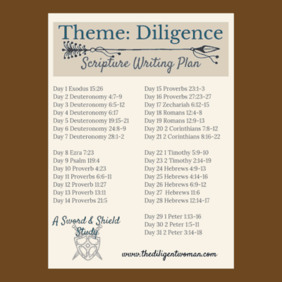 2019 Scripture Writing Plan – Theme: Diligence