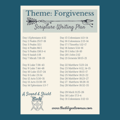 2019 Scripture Writing – Theme: Forgiveness