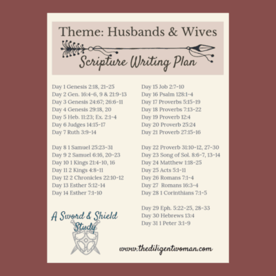 2019 Scripture Writing – Theme: Husbands & Wives