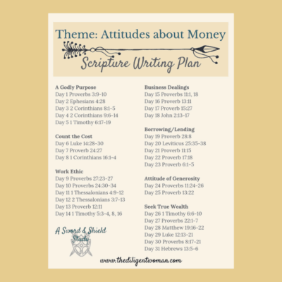 2019 Scripture Writing – Attitudes about Money