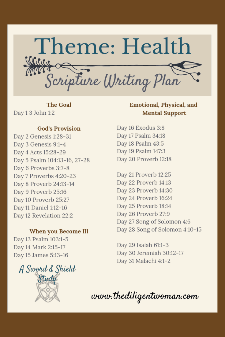 2019 Scripture Writing - Health - The Diligent Woman