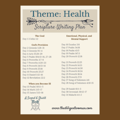 2019 Scripture Writing – Health