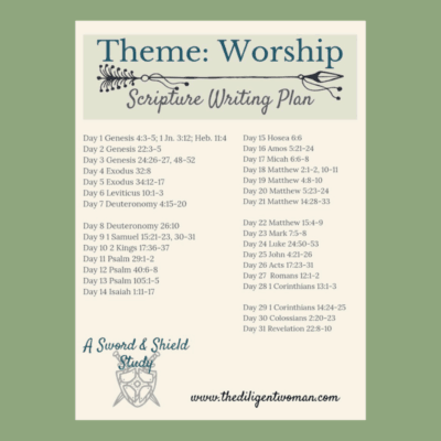 Scripture Writing Plan – Theme: Worship