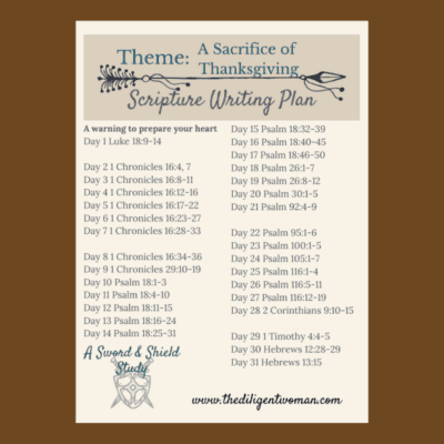 2019 Scripture Writing Plan – Theme: A Sacrifice of Thanksgiving