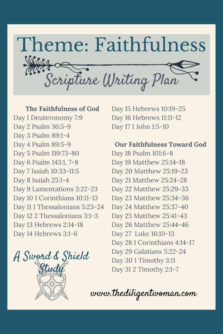 What does it mean to live a life in faithfulness to God? The Scripture Writing about Faithfulness builds trust in God's faithfulness towards man. It also shows us ways that define living a faithful life. Join us for 31 days of scriptures about faithfulness and grow in the grace and knowledge of the Word.